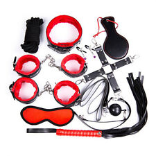 10 pc Restraint Bondage Kit BDSM Sexual Necklace Leash Handcuffs Paddle Clamps