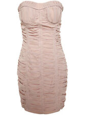Rubber Ducky gathered detail nude pink classical party mini dress w/ bust pad M