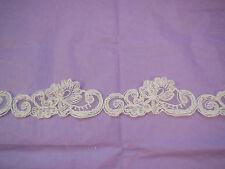 Marfil bordado Vintage Adorno de encaje floral de boda nupcial Tul Trim por yarda