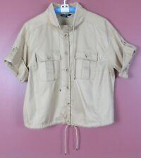 TB08662- RALPH LAUREN Women Cotton 2-Way 3/4 Sleeve Blouse Pocket w/ Tie Tan 18W