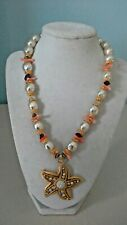 """Starfish Shell Necklace Faux Pearl Chunky Statement Gold Tone 16 - 18"""""""