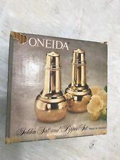 Oneida Golden Salt & Pepper Shakers New In Box Vintage