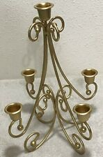 """Homco Home Interiors 5 Arm Table Sconce Painted Gold 12"""" x 9"""" Swirls Home Decor"""