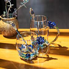 Blue Tea Cup Coffee Mug Glassess Cups Spoon Vintage Enamel Glass Mug