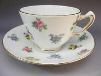 Crown Staffordshire Tea Cup Saucer Set English Bone China Pink Roses Pansies