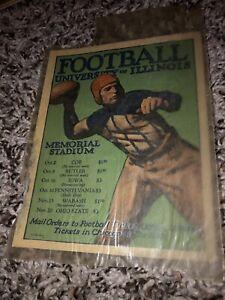 Rare 20's Illinois Fighting Illini Champaign, IL Football Schedule Decal Vintage
