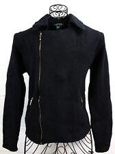LAUREN Ralph Lauren Black Knit Lambswool Zipper Sweater Jacket L
