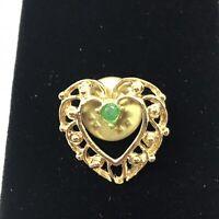 Gold Tone Filigree Heart Lapel Pin Brooch J1B5