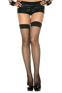 Music Legs Neon COLOR FISHNET STOCKINGS Thigh Highs Stretchy Solid TOP  OS
