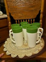Vintage Raffiaware Thermo Temp Tall Insulated Green Ribbed Melmac Lot of (6)MINT