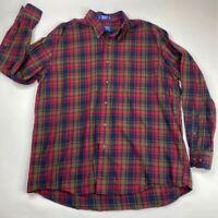 Pendleton Mens Mason Flannel Button Down Shirt Red Blue Plaid Long Sleeves XL