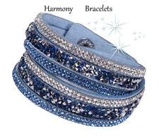 Baby Blue Swarovski Elements Wrap Glamour Bracelet by Harmony Bracelets