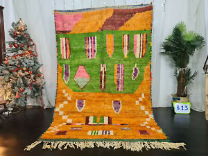 Handmade Moroccan Vintage Boujad Rug 5'x8' Berber Abstract Orange Green Wool Rug