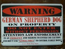 Metal Warning German Shepherd Dog Sign For Fence ,Beware Of Dog 8&#034;x12&#034;<