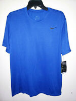 Mens Nike Dri-Fit Short Sleeve Blue T-Shirt Athletic Size Large L New