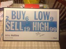 "Mike Rollins poster ""Buy Low Sell High"" signed framed stock market ticker"