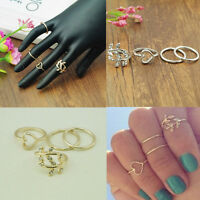 4PCS/Set Urban Crystal Stack Plain Above Knuckle Ring Band Midi Ring Gold/Silver