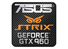 """Asus Strix GeForce GTX 960 1""""x1"""" Chrome Domed Case Badge / Sticker Logo"""