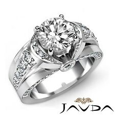 1.85ct Knot Style Classic Accent Round Diamond Engagement Ring GIA F-VVS2 W Gold