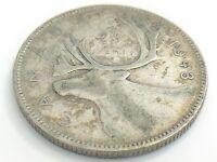 1943 Canada Twenty Five 25 Cent Quarter Canadian Circulated George VI Coin J786