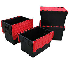 5 x Medium Plastic Crates Storage Box Containers 62L BLACK with RED LID
