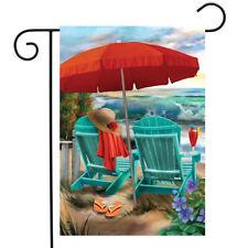 "Beach Life Summer Garden Flag Nautical Adirondack Chairs 12.5"" x 18"""
