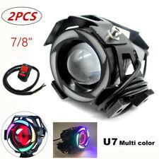 2PC U7-Multi Color LED Motorcycle Headlight Spot Lamp White Projector Waterproof