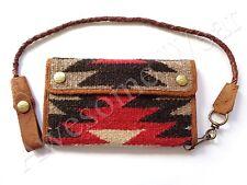 New Ralph Lauren RRL Beacon Knit & vintage Leather Western Biker Wallet