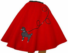 "Red FELT 50s Poodle Skirt _ Adult Size SMALL _ Waist 25""- 32"" _ Length 25"""