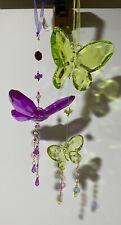 4 Hanging Crystal Butterfly Suncatcher Pendant Car/Garden/Window/Bedroom Decor