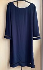 New The Kooples Navy Shift Dress Mesh Details 3/4 Sleeve Size 0 XS UK6