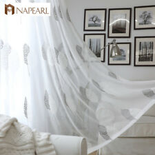 NAPEARL 1 Panel Modern Embroidery Curtain Window Sheer White Tulle Bedroom Drape