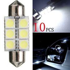 10 Pcs 36mm 5050 6SMD White LED Ligh Car Auto Interior Dome Festoon Bulb Lamp