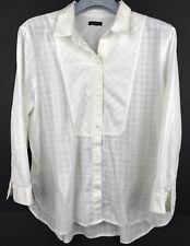 Ann Taylor White Long Sleeve Button Up Blouse Size L