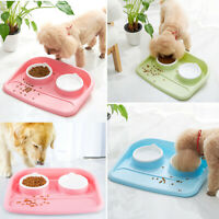 Dog Cat Double Dog Feeder Dual Pet Bowls Water Food Feeding Dish Non-Spill