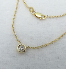 "14K YELLOW GOLD DIAMOND NECKLACE BEZEL SET ROUND .14ct 16"" SOLITAIRE GENUINE NEW"