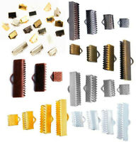 50Pcs 6mm - 30mm Ribbon Cord End Fasteners Clasps Clips Crimp Beads Jewelry Diy