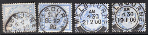 1886 Series VIC Victoria QV 6d Blue Stamp Duty Used MELBOURNE CDS x 4 REF: VD03