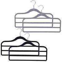 4, 8, 12 Black & Grey Flocked Velvet Non Slip 3 Bar Trouser Hangers Space Saving