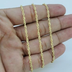 """10K Solid Yellow Gold Necklace Gold Rope Chain 2MM 16"""" 18"""" 20"""" 22"""" 24"""" 26"""" 30"""""""
