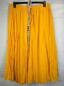 JESSICA LONDON Women's Plus Yellow Elastic Waist Mid Rise Flowy Maxi Skirts s 22