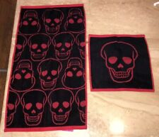 Betsey Johnson Set Of 2 Shadow Skull Hand Towel And Wash Cloth Gothic
