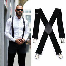 MEN'S 40mm Extra Wide Adjustable Elastic Mens Suspenders Clip-On Braces Trouser