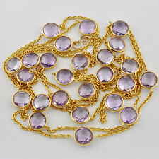 Heavy Plated Gold Vermeil Pink Amethyst Gemstone Connector Necklace 61 inch