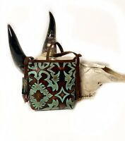 Raviani Crossbody Bag In Southwest Embossed Leather Brown/Turquoise Made In USA