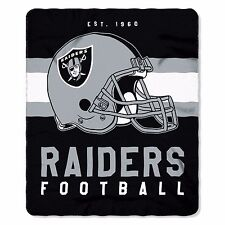 "NFL Oakland Raiders Singular Design Large Soft Fleece Throw Blanket 50"" X 60"""