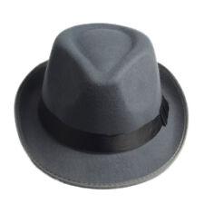 Retro Unisex Hard Felt Fedora Trilby Hat Gangster Cap Ribbon Band for Women Men