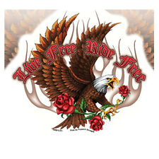 Biker Chopper Moto LIVE FREE TRIBAL ROSE eagle aquila adesivi sticker decal