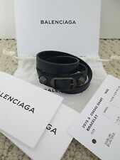 NWT Aut Balenciaga Classic Stud Navy Blue Triple Wrap Leather Bracelet Sz S $250