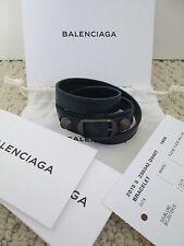 NWT Aut Balenciaga Classic Stud Navy Blue Triple Wrap Leather Bracelet Sz S $250